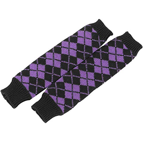 Aland Winter Women Rhombic Print Fingerless Long Gloves Arm Warmer Knitted Mittens Purple by Aland (Image #6)