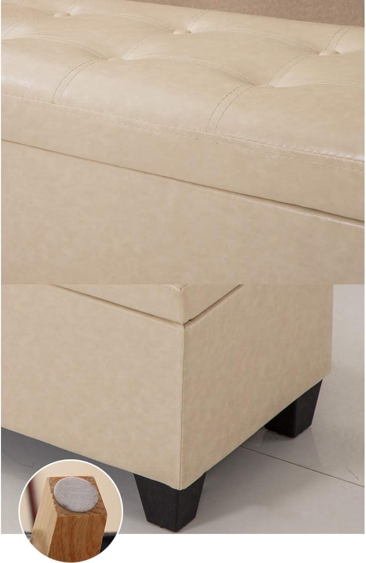 Truhenbank Lange Lagerung Sofa Hocker PU Kunstleder Aufbewahrungsbox Länge 47,24 Zoll Schuh ändern Hocker Startseite Rast Hocker (Color : Black) Dark Brown