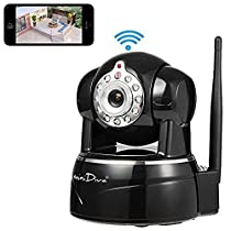 Minidiva HD 720P WiFi Access Pan & Tilt IP/Network Camera with Two-Way Audio and Night Vision for Android/IOS (Black)