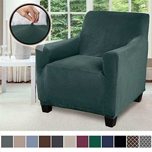 Gorilla Grip Original Velvet Fitted 1 Piece Chair Slipcover, Stretch Up to 23 Inches, Velvety Covers, Luxurious Armchair Slip Cover, Spandex Chairs Furniture Protector, with Fasteners, Hunter Green (Armchairs Covers)