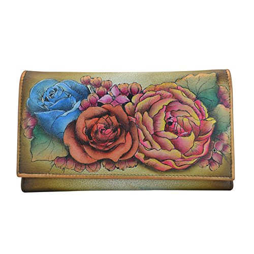 Anuschka Hand Panted Checkbook Wallet/Clutch Lush Lilac Bronze Wallet, Llc-Bz-Lush Lilac Bronze, One Size by Anna by Anuschka