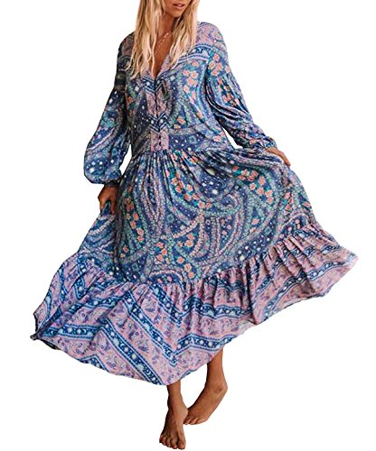 R.Vivimos Womens's Cotton Long Sleeve Vintage Floral Bohemian Beach V Neck Bottons Casual Maxi Dresses Small Blue