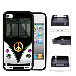 Hippy Mini Van with Peace Sign in Center Series Hard Rubber Cell Phone Case Cover iPhone 4 4s (black)