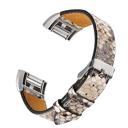 bayite Leather Bands Compatible Fitbit Charge 2, Replacement Accessories Straps Women Men, Snakeskin