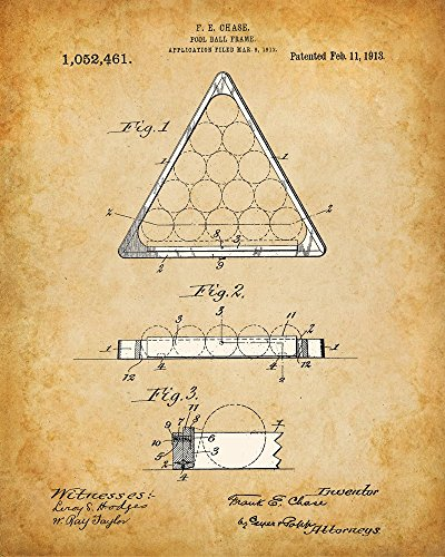 Original-Pool-Billiards-Patent-Art-Prints-Set-of-Four-Photos-8x10-Unframed