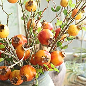 MARJON FlowersNew Merry Christmas Fake Artificial Rose Fruit Pomegranate Berries Bouquet Floral Garden Home Decor (Orange) 2