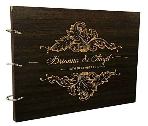 Custom Pages Scrapbook - Handmade Wedding Guest Book Rustic Wood Wooden Engraved Advice Book Photo Album Custom Scrapbook