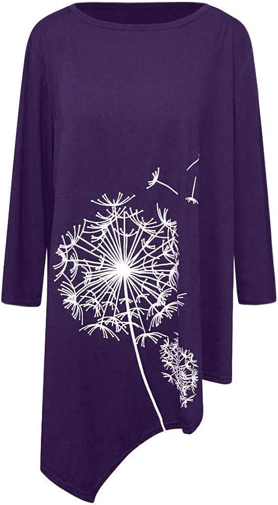 Kexdaaf Tees Plus Size Women Shirt,Casual Loose Dandelion Print Blouses Asymmetrical Hemline Boho Shirt Spring Tops