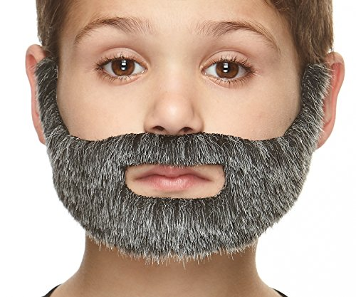 Mustaches Fake Beard, Self Adhesive, Novelty, Small Nobleman False Facial Hair, Costume Accessory for Kids, Salt and Pepper Color