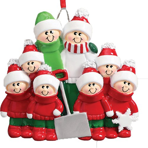 Personalized Snow Shovel Family of 8 Christmas Ornament for Tree 2018 - Cute Parents Children in Green Winter Clothes hold Spade - Tradition Hug Gift Kids Shoveling - Free Customization (Personalized Christmas Ornaments For Kids)