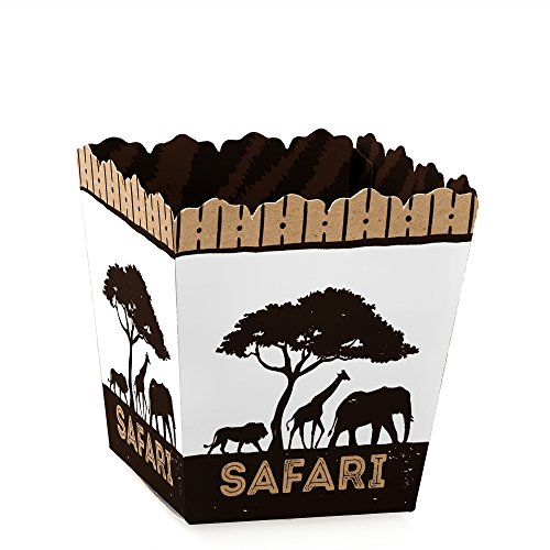 Wild Safari - Party Mini Favor Boxes - African Jungle Adventure Baby Shower or Birthday Party Treat Candy Boxes - Set of 12