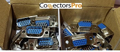 Pc Accessories - Connectors Pro 10 Pairs D-Sub HD15 High Density Solder Male and DB HD15 Female Connector 3-Row, 20-Pack (10 male + 10 female) (Cable Vga Assembly)