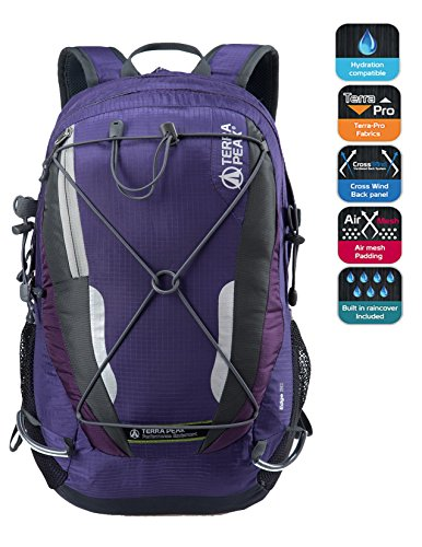 Cycling Hiking Backpack TERRA PEAK Water Resistant Travel Backpack Lightweight SMALL Daypack 30L Purple