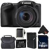 Canon PowerShot SX420 IS Digital Camera (Black) 1068C001 International Model (No warranty) + 8GB SDHC Class 10 Memory Card + Carrying Case - BUNDLE