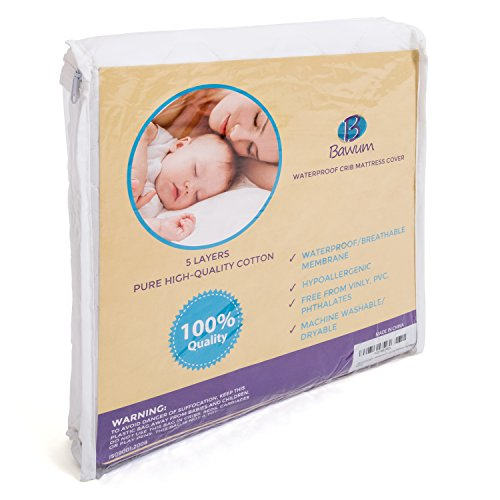 Bawum 5-Layer Soft Waterproof Fitted Crib Protective Mattress Pad Cover