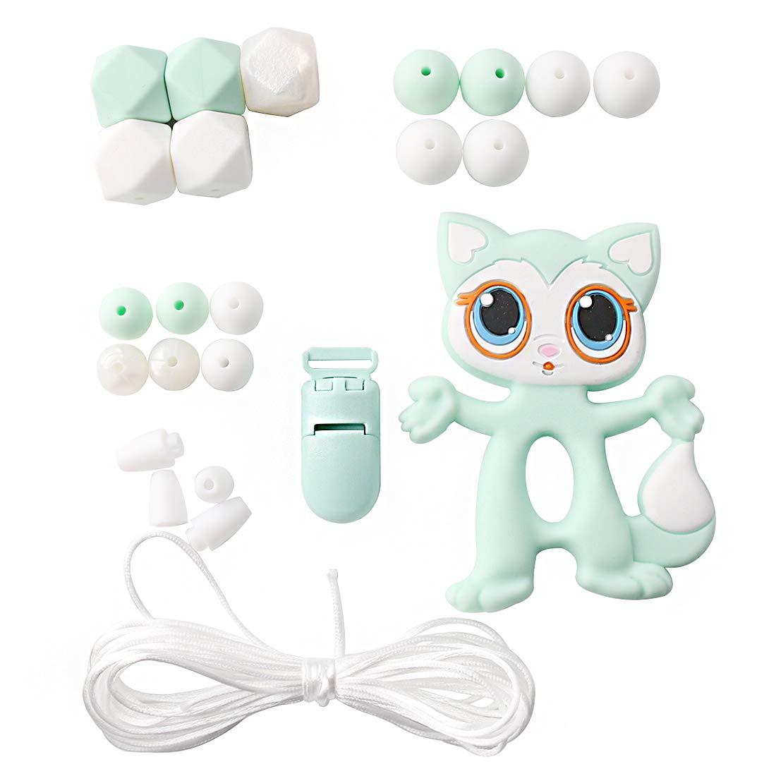 Promise Babe Juguetes de Chupete de Silicona Para Bebé Set de Dentición Cadena Corta Gato Gris Anillos de Mordedor Pulseras de Chupete Perlas de Bricolaje ...