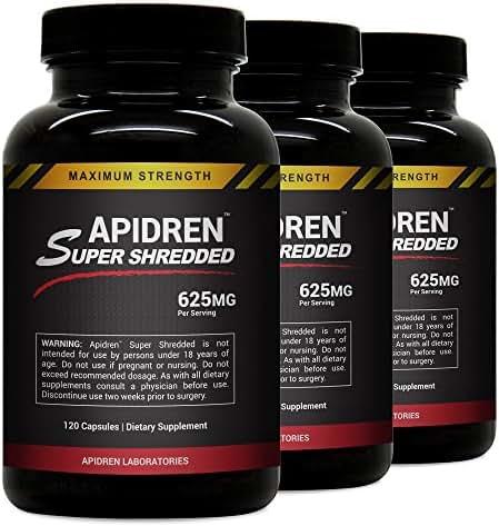 Apidren Super Shredded (3 Bottles) - Hardcore Diet Weight Control Supplement