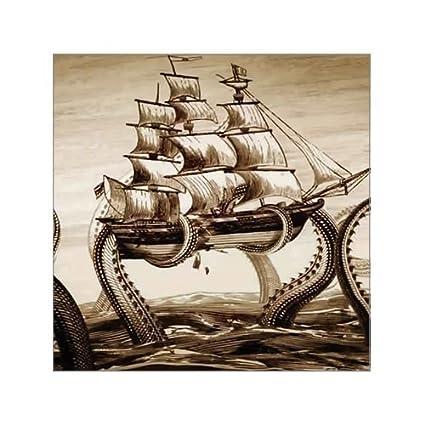 Amazon.com: Beautiful Modern Art Painting Octopus Pirate Ship Canvas ...