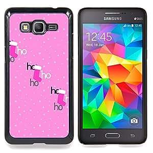 """Stocking Ho Lunares Navidad de la Navidad"""" - Metal de aluminio y de plástico duro Caja del teléfono - Negro - Samsung Galaxy Grand Prime G530F G530FZ G530Y G530H G530FZ/DS"""