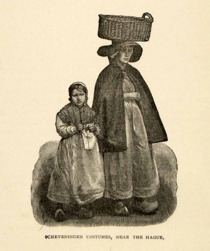 1882 Halftone Scheveningen Costumes Hague South Holland Netherlands Portrait - Original Halftone (Holland Costume City)