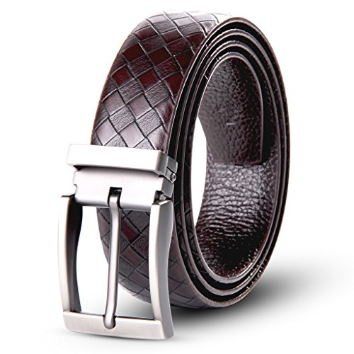 XIANGUO Men's Leather Classic Casual Braid-Weave Genuine Leather Waist Belt