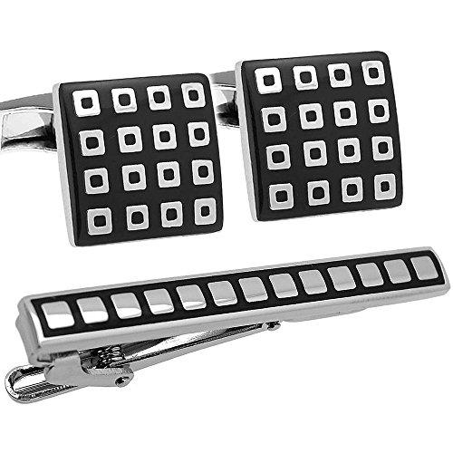 Black & Silver Check Cufflinks
