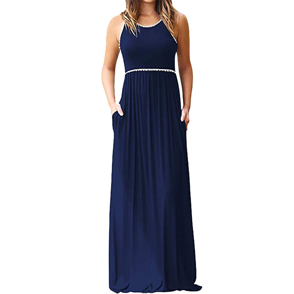 Plus Maxi Dresses For Women Round Neck Lace Sleeveless Maxi Dresses Casual Long Dresse With Pocket (Navy,XXXL)