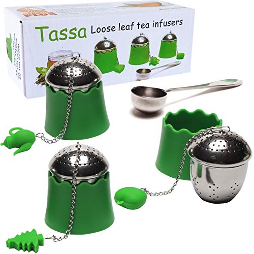 Loose Leaf Tea Infuser [TASSA] Stainless Steel Tea Strainers with Silicone Handle and Silicone Base 3X Plus Stainless Steel Spoon Scooper. Magnetor Plus