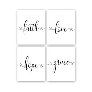 "Kairne Faith Hope Love Grace Bible Verse Art Print,Set of 4 (8X10"") Inspirational Typography Art Painting,Christian Quote Canvas Poster for Home Office Decor,Unframed"