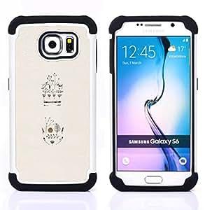 For Samsung Galaxy S6 G9200 - birds flowers trees deer minimalist beige Dual Layer caso de Shell HUELGA Impacto pata de cabra con im??genes gr??ficas Steam - Funny Shop -
