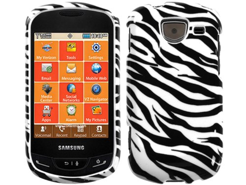 (Zebra Black White Crystal Faceplate Hard Skin Case Cover for Samsung Brightside U380 )