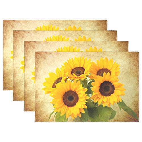 Wamika Sunflowers Table Mat Placemat, Vintage Sunflowers Floral Placemats Non Slip Stain Heat Resistant 12x18x4 in for Home Dining Kitchen Decor Set of 4