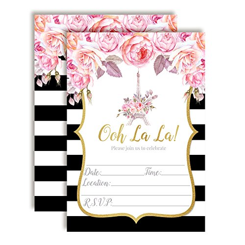 Watercolor Floral Paris Party Invitations for Birthdays, Baby Showers, Bridal Showers, Engagement Parties and More. 20 5