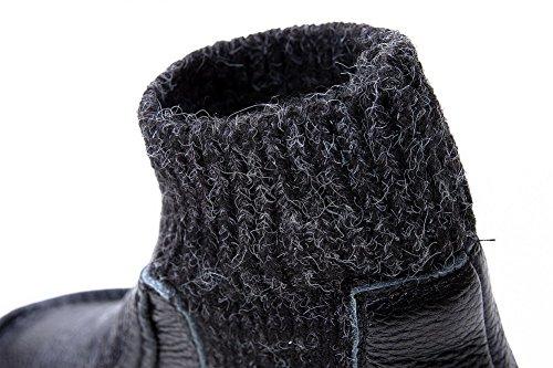Amoonyfashion Mujer's Round Toe Botas De Tacón Bajo Cerrado Con Suela Antideslizante Negro