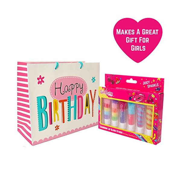GirlZone Rainbow Fruity Lip Gloss Makeup Set for Kids and Girls, Great Birthday Gifts For Girls 8