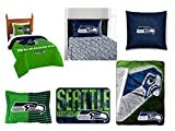 Northwest NFL Seattle Seahawks Ultimate 8pc Ensemble: Includes Twin Comforter, sham, Twin Flat Sheet, Twin Fitted Sheet, Pillowcase, Rug, toss Pillow Oversized Throw