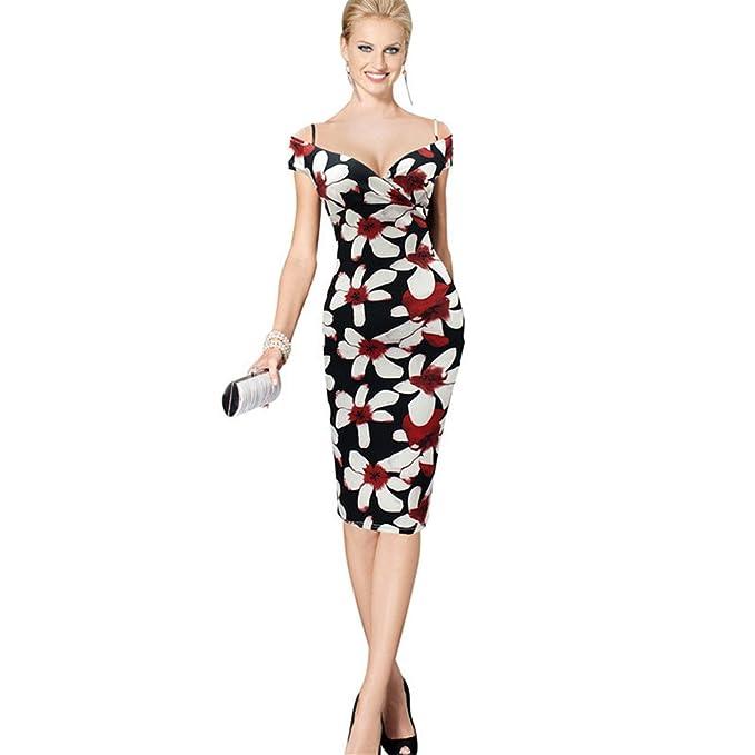 fe5a56d55 COCO clothing Flores Estampado Lápiz Vestido de Noche para Mujer Hombro  Tiras Sujetador Bandeau Vendaje Vestidos de Fiesta por la Rodilla   Amazon.es  Ropa y ...