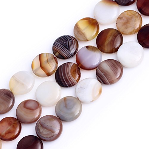 (GEM-inside Stripe Botswana Agate Gemstone Loose Beads Natural Bronw 14mm Coin Crystal Energy Stone Power For Jewelry Making)