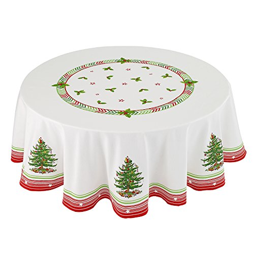 Christmas Jubilee Spode Fabric Holiday Tablecloth, 70 Inch Round