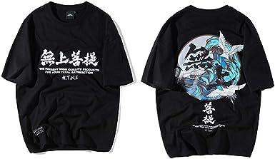 Camiseta con Estampado de grúas para Hombre de Hip Hop de Buda Camiseta con Caracteres Chinos Casual Tops Camisetas Harajuku Streetwear Verano Negro: Amazon.es: Ropa y accesorios