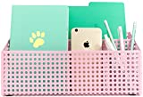 under cabinet shelf for ipad - Blu Monaco Pink Desk Mail Organizer for Women - 3 Compartments - Holds a Standard Letter Size File Folder, Paperwork, Mail, Bills, Pens, Pencils, Small Office Items - Pink Metal