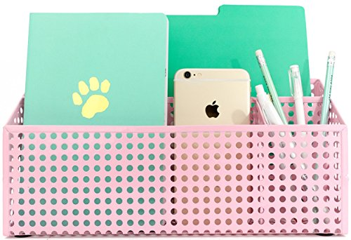 Blu Monaco Pink Desk Mail Organizer for Women - 3 Compartment Desktop Caddy - Holds a Standard Letter Size File Folder, Paperwork, Mail, Bills, Pens, Pencils, Small Office Items - Pink Metal