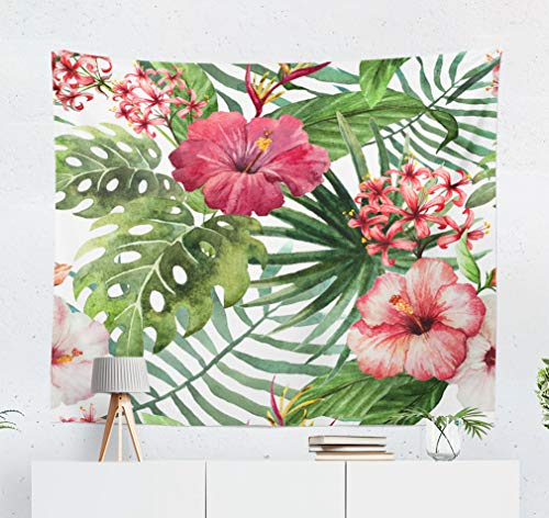 KJONG Hawaii Watercolor Watercolor Palm Tree Hawaii Summer Exotic Hibiscus Floral Decorative Tapestry,60X50 Inches Wall Hanging Tapestry for Bedroom Living ()