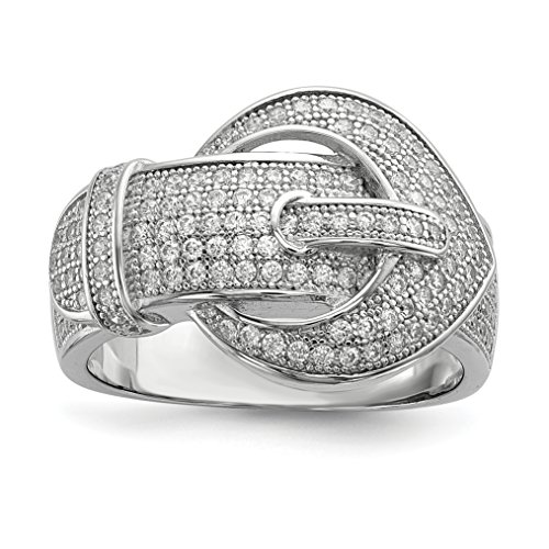 ICE CARATS 925 Sterling Silver Cubic Zirconia Cz Buckle Band Ring Size 8.00 Fine Jewelry Gift Set For Women Heart