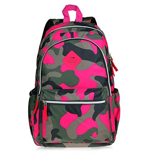 Limirror Schulrucksack Schulranzen Schultasche Sports Rucksack Freizeitrucksack Daypacks Backpack für Mädchen Jungen & Kinder Damen Herren Jugendliche mit der Farbe Tarnung (Vintage-Rose)