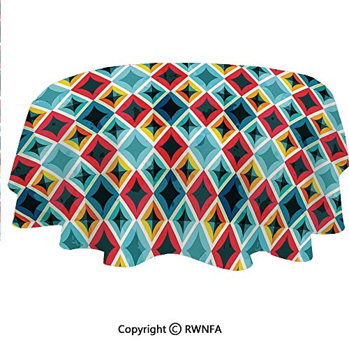 Home Decor Tablecloth Grunge Colorful Mosaic Diagonal Artsy Squares Frame with Crystal Effects Image Oval Dining Room Kitchen Table Cover 64 X 102 inches Multicolor