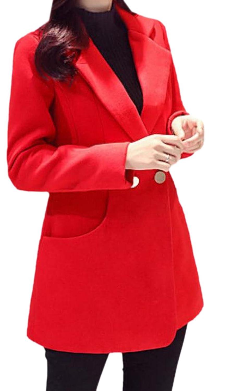 Honey GD Women's Lapel Slim Solid Long Sleeve Worsted Coat