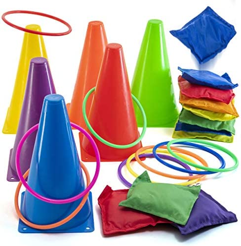 Prextex 3 in 1 Carnival Outdoor Games Combo Set Cornhole Bean Bags Ring Toss Game and Birthday Party Outdoor Games Supplies Plastic Cone Set 26 Piece Set