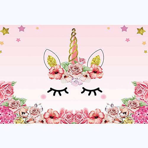 Qian Unicorn Photography Background Floral Photo Pink Rose Backdrops for Girls Birthday Party Supplies Studio Props Booth Vinyl 5x3 FT ly021 ()