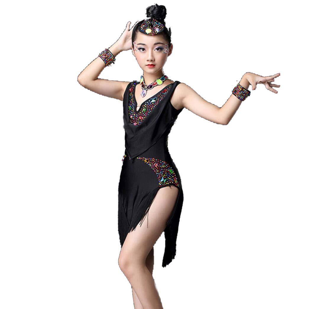 Noir ZYLL Vêtements de Danse Latine pour Enfants, Enfants Enfants Sequin Fringe Scène Compétition Costume de Danse de Salon Filles Latin Salsa Tango Tassel 160CM